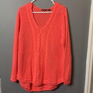 Jeanne Pierre coral crochet knit sweater size xl